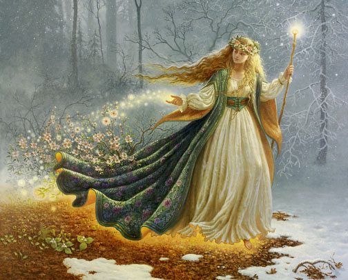 Freyja, Norse goddess of sexuality, with staff, renewing the earth