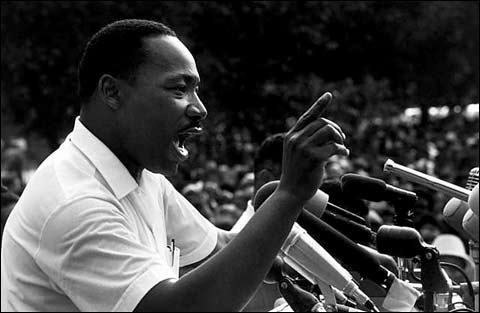 Martin Luther King Jr, delivering an outside speech