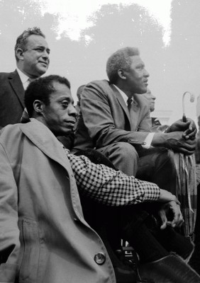 James Baldwin with the United Auto Workers Union President Walter Reuther and Civil Rights activist Bayard Rustin during the Selma to Montgomery march in Spring 1965. Photo by Stephen Somerstein, courtesy of the San Francisco Art Exchange