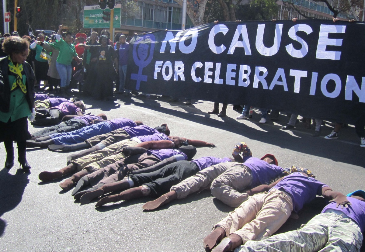 No Cause for Celebration protest by the 1 in 9 Campaign in South Africa. Photo courtesy of the 1 in 9 Campaign