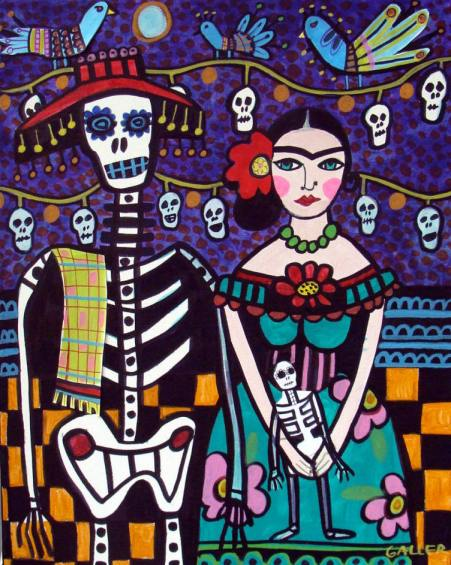 """Mexican Day of the Dead, Frida Kahlo and Skeleton"", painting by Heather Geller"